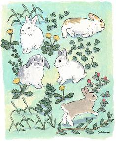 Spring Weather and bunnies ぽかぽか春の陽気とうさぎさんたち☀ * #illustration#art#drawing#design#acrylicpaint#アクリル絵の具#rabbit#bunny#うさぎ