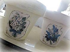 Macetas pintadas y decoradas en decoupage, estilo vintage.