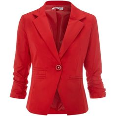 Wal-G Jacket with 3/4 ruched sleeve ($28) ❤ liked on Polyvore featuring outerwear, jackets, blazers, tops, coats, red, women, three quarter sleeve blazer, ruched sleeve blazer and single breasted jacket