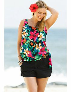 Scoop neckline provides moderate coverage.; Blouson tankini top with visually slims torso; Print breaks up torso and visually slims waist.; Cargo short with functional pockets, velcro closure, and attached panty hides hips while minimizing rear and thighs; Soft molded cup bra with encircled plush empire band  gives bust support; 82% Nylon / 18% Spandex; sonsi.com