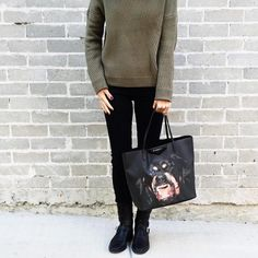 Style by Aggie pairs her black J BRAND jeans with a chunky knit and statement bag. #InMyJBRAND