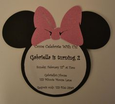 Minnie Mouse Birthday Invitations  Pink Bow by GabbyCatCreations, $13.00