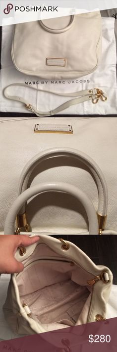 NEW 💯Authentic Marc by Marc Jacobs Leather Bag💕 New Marc by Marc Jacobs Too Hot To Handle Satchel bag with removable starp. Never used as it has been buried in my wonderland closet. High quality white soft leather with golden braces. Roomy inner space comes with one zipper compartment and 2 small pockets. There are 2 small spots close to the exterior zipper when purchased but can't be seen from outside (see 6th photo). Original dust bag will be included. Marc by Marc Jacobs Bags Satchels