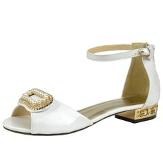 Kids Dress Sandals Gold Tone Pearl Accent Low Heel Pageant Shoes White Girls Dress Sandals, Girls Shoes, Pageant Shoes, Little Princess, Low Heels, Pearls, Kids, Gold, Fashion