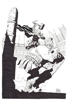 Gladiator Hulk vs Thor by Eduardo Risso SDCC 2017 Comic Art