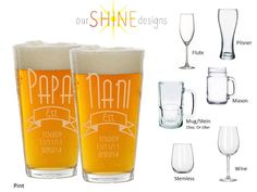 Personalized Etched Pilsner, Pint, Mason Jar or Beer mug / stein - Engraved beer glass - personalized gift - Dad's Beer Glass - Father's Day
