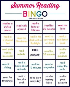Summer Reading Bingo Can't decide what to add to your summer reading list? Let BINGO decide for you! Reading Bingo, Reading Activities, Kids Reading, Summer Activities, Reading Logs, Teaching Reading, Reading Homework, Library Activities, Reading Games