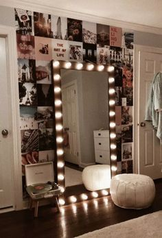 Vanity Mirror with Lights Ideas (DIY or BUY) for Amour Makeup Room - Vanity . - Vanity Mirror with Lights Ideas (DIY or BUY) for Amour Makeup Room – Vanity Mirror with Light - Cute Room Ideas, Cute Room Decor, Bedroom Decor Lights, Diy Room Ideas, Bedroom Lighting, Cool Lights For Bedroom, Vanity Lighting, Decorating Walls In Bedroom, Light Up Mirror Vanity