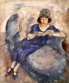 Girl in Blue Dress on Sofa, Reading Jules Pascin (American and Bulgarian, Oil on fiberboard (later mounted to plywood panel). The Barnes Foundation. People Reading, Girl Reading Book, Reading Art, Woman Reading, Reading Books, Harlem Renaissance, Henri De Toulouse-lautrec, Illustrations, Illustration Art