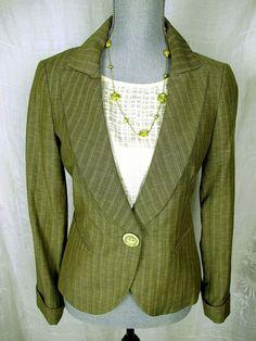 LAFAYETTE 148 Olive Green Wool Linen Jacket Career Suit Blazer Jacket Coat 2 S #Lafayette148 #BasicJacket