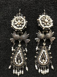 15bd2d82a Artist: Federico Measurements Length: 1 1/2 Width: 1 1/8 Pearl Droplets:1/4  $225- These wonderful earrings are hand-m… | Federico Jimenez ~ Collection  ...