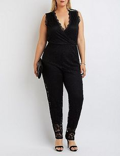 1bfb0752f583 Plus Size Lace Surplice Jumpsuit -- You can find more details by visiting  the image