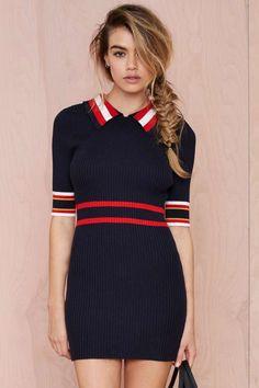 Make Varsity Ribbed Dress - Day   Body-Con         Dresses