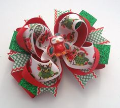 Christmas Owl Baby, Girls Handmade Boutique Hair Bow