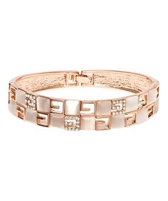 Another great find on #zulily! Swarovski® Crystal & Shell Rose Gold Geometric Hinge Bangle by Barzel #zulilyfinds