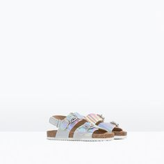 Image 2 of METALLIC HOOK AND LOOP SANDALS from Zara