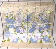 RARE VINTAGE FLORAL CHRISTIAN DIOR TWILL SILK SCARF SCHAL FOULARD NO RESERVE