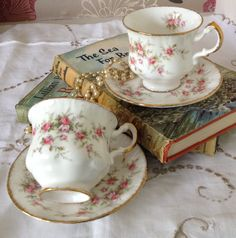 Two Vintage Paragon VICTORIANA ROSE by florenceforeverfinds