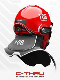 Smoke Diving Helmet by omer haciomeroglu, via Behance C-Thru; Smoke Diving Helmet by omer haciomeroglu, via Behance Helmet Armor, Fire Helmet, Motorcycle Helmets, Bicycle Helmet, Motocross, Volunteer Firefighter, Firefighters, Firefighter Training, Firefighter Gear
