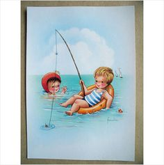 Frankie signed pc girl swimming & boy fishing while floating on rubber ring (8) on eBid United Kingdom