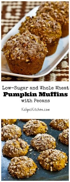 PIN this recipe for Low-Sugar and Whole Wheat Pumpkin Muffins with Pecans so you'll have it when you're ready to get your pumpkin on! This is a perfect breakfast idea for Halloween morning. [from KalynsKitchen.com}