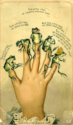 Frog fingers & Moors Love this one! A froggy version of This Little Piggy . Frosch Illustration, Illustration Art, Illustrations, Vintage Postcards, Vintage Images, Vintage Art, Kids Poems, Frog Art, Frog And Toad