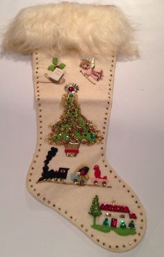Vintage 1940 - 1960 Christmas Felt Stocking Beads Sequins Tree Angel Toys Fur Z