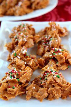 Butterscotch Crunchies:   1 Pkg 11oz Butterscotch Morsels 1/2 Cup Peanut Butter 4 Cups Corn flakes