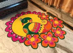 Rangoli is part of every important celebration. Every women is India make rangoli on the floors of the house or the … Rangoli Designs Flower, Rangoli Patterns, Rangoli Ideas, Rangoli Designs Diwali, Diwali Rangoli, Beautiful Rangoli Designs, Pattern Drawing, Pattern Art, Fabric Colour Painting