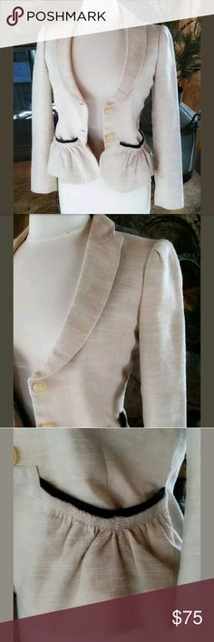 "R.E.D. Valentino Blazer/Jacket 42 Natural & Black Long sleeve, 2 button closure, 2 front pockets with gathering and black trim. Gathering on top of sleeve. Gorgeous jacket with scoop neckline, Natural in color. Made in Romania, material content is 40% cotton, 38% linen, 22% true hemp. Size 42 measures laying flat 17"" pit to pit, 24"" sleeve length, 22"" length. EUC R.E.D. Valentino Jackets & Coats Blazers"
