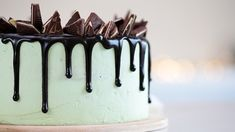 This is a rich decadent chocolate cake recipe you encase in a mint frosting. It not only drips chocolate, but it's also topped with shards of mint chocolate candies. Mint Chocolate Candy, Chocolate Peppermint Cake, Decadent Chocolate Cake, Mint Frosting, Vegan Treats, Cake Recipes, Baking, Cooking Network, Desserts
