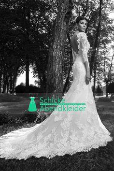 2015 V-Ausschnitt 3/4 Länge Ärmel Brautkleider Mermaid / Trompete mit Applikationen Gericht Zug