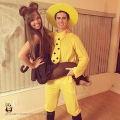 This hit lit duo is a double whammy! Everyone's favorite monkey has finally found his proud owner, The Man in the Yellow Hat. May you have many curious adventures together.Get the tutorial at Coolest Homemade Costumes.