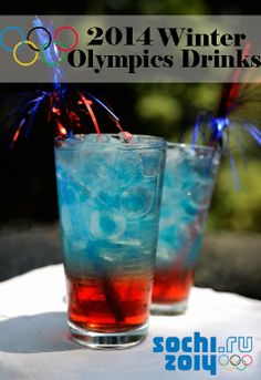 Perfect Red, White, & Blue drinks for an Olympics party! So cute (and delicious) for the 2014 Winter Olympics in Sochi! Olympics drinks!!