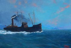 """"""" Full Steam Ahead.""""........ Somewhere in the Bristol Channel SS Sneyd,a collier owned by Osborne & Willis to supply coal to Portishead """"A"""" & """"B"""" power stations…………….Painting by Simon G.B.Roberts. Acrylic on Canvas -76 x 52 cms"""