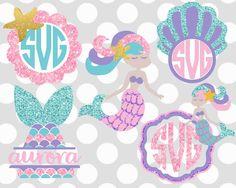 MERMAID svg,  mermaid monogram svg, mermaid party shirt, svg,dxf, eps,unicorn svg,  frame svg,birthday svg,cutter files,swirly frames by ShortsandLemons on Etsy