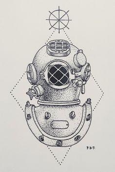 #tatto #tatuagem #merguhador #capacete #desenho #tumblr #silhueta #inspiraçaotatto