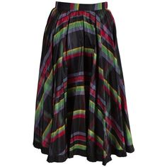 Preowned Italian Silk Skirt With Black Frilled Underskirt ($347) ❤ liked on Polyvore featuring skirts, black, striped skirts, flouncy skirt, stripe skirt, frilly skirt and silk skirt