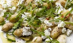Fried butter beans with feta