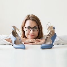 Roccamore founder Frederikke, and a pair of Blue Gaia shoes.
