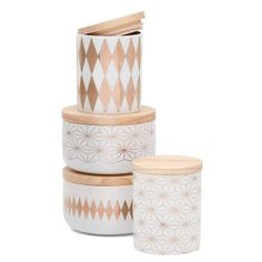 Storage with style, gold starburst patterned ceramic canister sealed with a light wood top. The large measures diametre x 9 cm high Everyday Objects, Canisters, Thats Not My, Decorative Boxes, Ceramics, Make It Yourself, Diamond, House Styles, Gold