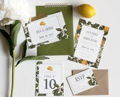 lemon botanical inspired wedding invitation | Gold Fox Paper on Etsy