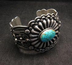 Darrell Cadman Navajo Kingman Birdseye Turquoise Sterling Silver Bracelet
