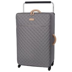 Tesco direct: IT Luggage Tritex Quilted 4-Wheel Grey Large Suitcase
