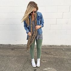 Comfy casual / with leopard scarf, denim jacket, and converse high tops / www.herlovelystyle.com