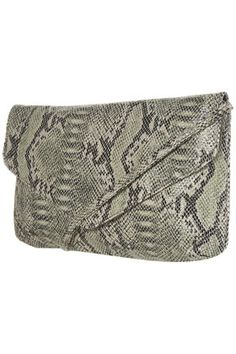 Snake clutch. Topshop. Kicks a solid colored dress up a notch. Or with skinnies, tee and a blazer.