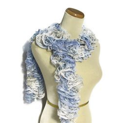 Holiday Hand Knit Scarf  Ruffled  Blue White by ArlenesBoutique, $28.95