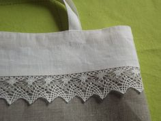Linen tote bag white gray linen and lace bridal tote lingerie bag via Etsy