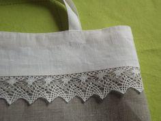 Linen tote bag white gray linen and lace bridal tote lingerie bag via Etsy