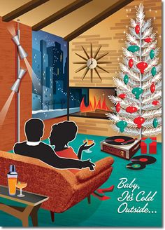 Mid Century Couple Christmas Cards features a cozy scene by the fireplace at Christmastime. A vintage aluminum Christmas tree sparkles as it snows outside.8 cards + color envelopes $12.
